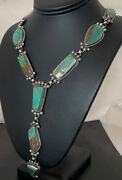 Native American Navajo Sterling Silver Royston Turquoise Lariat Necklace 698