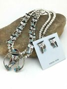 Zuni Owl Inlay Turquoise Sterling Silver Squash Blossom Necklace Naja Set 1310