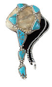 Lariat Navajo Native Am Sterling Silver Spiderweb Turquoise Necklace Pendant1187
