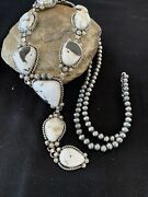 Stunning Navajo Sterling Silver White Buffalo Turquoise Lariat Necklace 879
