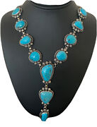 Stunning Native Am Navajo Sterling Silver Kingman Turquoise Lariat Necklace 877