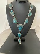 Lariat Navajo Native American Sterling Silver Turquoise Necklace Pendant 30andrdquo 824
