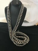 Stunning Navajo Pearls Sterling Silver Bead Necklace 60andrdquo Long 3 Strands 209