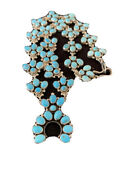 Authentic Sterling Silver Squash Blossom Sb Kingman Turquoise Necklace Naja 654