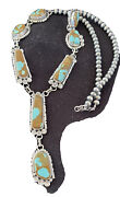 Lariat Navajo Handmade Long Sterling Silver Turquoise8 Necklace Pendant 1110