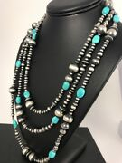 Stunning Sterling Silver Navajo Pearls Sleeping Beauty Turquoise Necklace 70