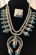 Navajo Sterling Silver Squash Blossom Kingman Turquoise Necklace Naja Yazzie 97