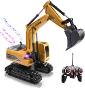 Remote Control Excavator Toy Truck Rc Excavator With Metal Shovel Lights Sounds