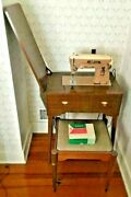 Vintage Singer Sewing Machine 403 With Original Cabinet Stool And Attachments Box
