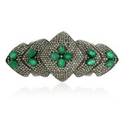 3.81ct Pave Diamond And Emerald Knuckle Armor Cocktail Ring 925 Silver Jewelry