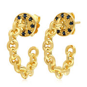 Blue Sapphire Gold Plated 925 Sterling Silver Link Chain Hoop Earrings Jewelry