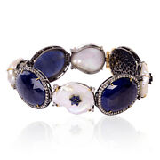 Sapphire And Pearl Diamond Bracelet 18k Gold 925 Sterling Silver Bangle Jewelry