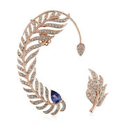 Studded Pave Diamond And Tanzanite Leaf Ear Cuffs Stud Earrings 18k Rose Gold