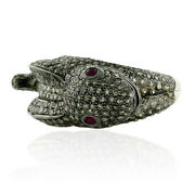 4.2ct Pave Diamond 14kt Gold .925 Sterling Silver Animal Design Ring Jewelry