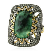 8ct Emerald Diamond 18kt Yellow Gold 925 Sterling Silver Designer Ring Jewelry