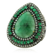 Natural Emerald Pave Diamond 18k Gold Sterling Silver Cocktail Ring Gift Jewelry