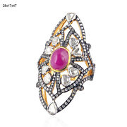 18k Gold 925 Silver 4.25ct Ruby And Rose Cut Diamond Cocktail Ring Wedding Jewelry