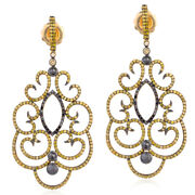 4.64ct Pave Diamond Designer Dangle Earrings 18k Gold 925 Silver Jewelry Gift