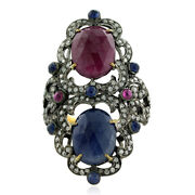925 Sterling Silver 18k Gold 10.15ct Sapphire Ruby Diamond Cocktail Ring Jewelry