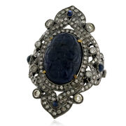 12.5ct Carved Sapphire Diamond 18k Gold 925 Sterling Silver Ring Fashion Jewelry