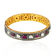 6.6ct Ruby Diamond 18k Solid Gold 925 Sterling Silver Wedding Bangle Jewelry