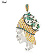 3.77ct Emerald Gold Lady Face Pendant Opal Pave Sapphire Sterling Silver Jewelry
