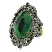 7.45ct Emerald And Diamond Cocktail Ring 18k Gold 925 Silver Handmade Jewelry