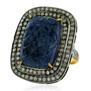 Pave Diamond And Carved Blue Sapphire Cocktail Ring 925 Silver 18k Gold Jewelry