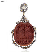 38.35ct Wood And Diamond Owl Pendant 18k Gold 925 Sterling Silver Jewelry