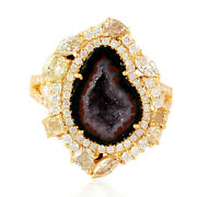 Natural Diamond And Geode Cocktail Ring 18k Yellow Gold Ring Fine Jewelry Gift