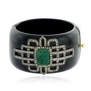 Carved Flower Emerald And Diamond Bangle 925 Silver 18k Gold Bakelite Jewelry