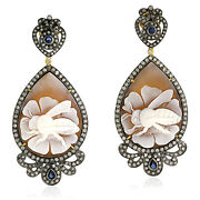 925 Silver 18k Gold Diamond Floral Bee Dangle Earrings Cameo Jewelry Gift