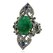 Sapphire And Carved Flower Emerald Cocktail Ring Silver 18k Gold Diamond Jewelry