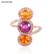 3.30ct Multi-sapphire And Diamond Cocktail 18k Rose Gold Fine Jewelry Gift For Her