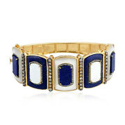 Lapis And Pearl Bangle Bracelet 925 Silver 18k Gold Diamond Jewelry Gift For Her