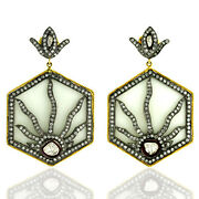 18k Gold 925 Silver 92.18ct White Agate And Diamond Dangle Earrings Jewelry