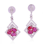 Diamond And Prong Set Ruby Dangle Earrings 18k White Gold Jewelry Gift For Her
