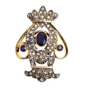 9k Gold 925 Sterling Silver 4.48ct Sapphire And Diamond Pendant Women Jewelry Gift