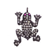 0.7ct Pave Diamond Frog Charm Pendant .925 Sterling Silver Handmade Jewelry