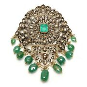 Emerald 925 Sterling Silver 10k Gold 5.7 Ct Diamond Antique Look Pendant Jewelry