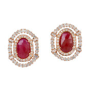 Prong Set Ruby And Diamond Stud Earrings 18k Rose Gold Fine Jewelry