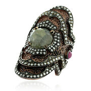 5.65ct Labrodorite Ruby Diamond Cocktail Ring 925 Silver 14k Gold Jewelry