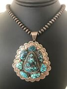 Old Pawn Handmade Navajo Pearls Sterling Silver Web Turquoise Necklace 1001