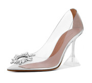 Amina Muaddi 95 Begum Pump Pvc Clear Transparent Glass Crystal Sandal Heel 39