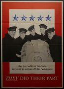 1943 Five Sullivan Brothers Missing In Action Off The Solomons Uss Juneau Wwii