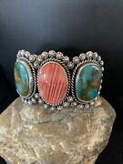 Navajo Indian Royston Turquoise Spiny Oyster Sterling Silver Cuff Bracelet 1105