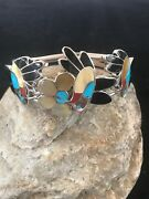 Old Pawn Zuni Sterling Silver Multi Stone Inlay Hummingbird Bracelet Turquoise