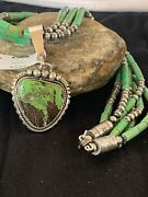 Navajo Pearls Sterling Silver Green Gaspeite Pendant Turquoise Necklace Set 2986
