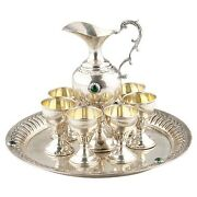 800 Silver Tray Pitcher + 6 Small Chalice Cups Goblets