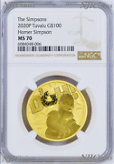 2020 Homer Simpson 100 1oz .9999 Gold Bullion Coin Ngc Ms70 Brown Label